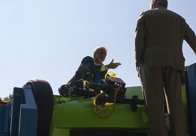 Explorer and filmmaker James Cameron in front of the camera on the robot arm on DeepSea Challenger at Capitol Hill in June 2013. Photo by Ocean Leadership.