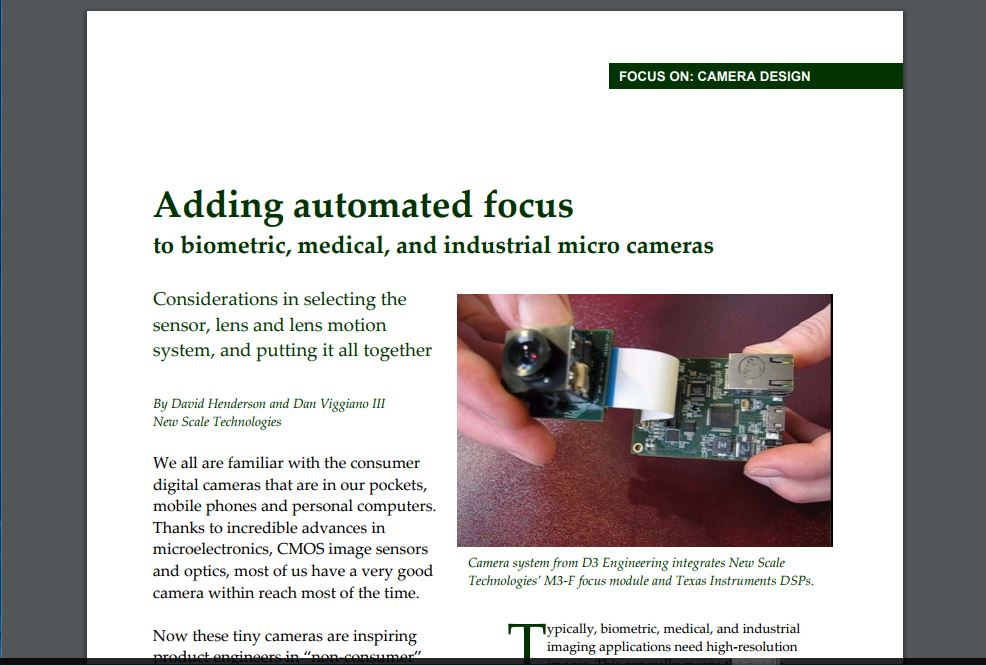 Adding automated focus to biometric, medical, and industrial micro cameras